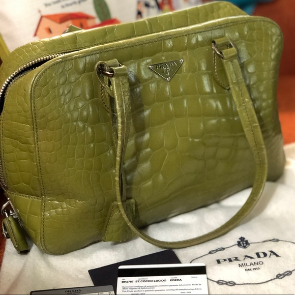413c225328bf Prada Bags | Lime Green Crocodile Purse Authenticity Card | Poshmark